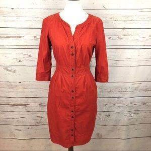 Anthro Maeve Corduroy Burnt Coral Dress